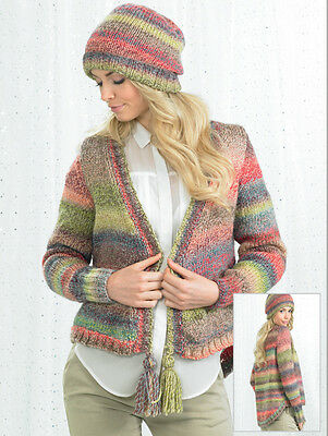 Knit Kit. Marble Chunky Jacket with Tassels (JB245) with yarn. Choice of size