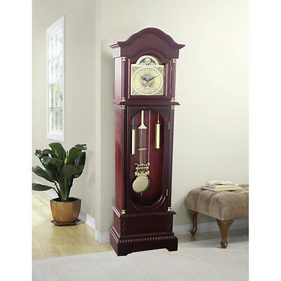 Antique Longcase Grandfather Clock Vintage Solid Wood Glass Door Gold Finish New