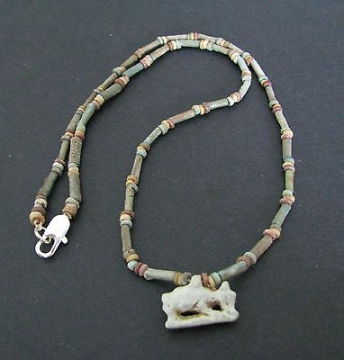 NILE  Ancient Egyptian Calf Amulet Mummy Bead Necklace ca 1000 BC