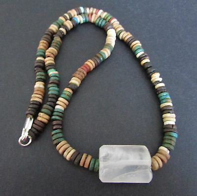 NILE  Ancient Egyptian Rock Crystal Mummy Bead Necklace ca 600 BC
