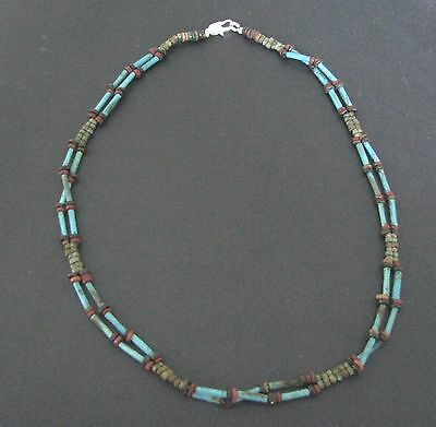 NILE  Ancient Egyptian Faience Double Strand Mummy Bead Necklace ca 1200 BC