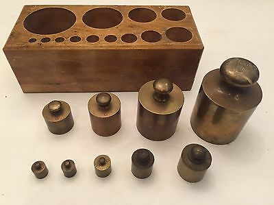 Vintage Brass Scale Weights Elli Buk Museum 10g To 1000g Pharmaceutical Science