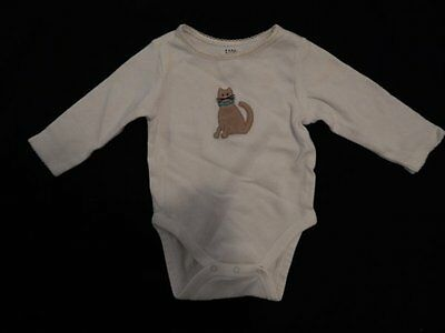 Baby Gap White Brown Cat Embellished Long Sleeved Girls Body Suit 3-6 Months