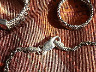 """Sterling Silver LOT Diamond Cut Ring (6) Braided Ring (5.25) Ankle Bracelet 9"""""""