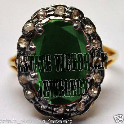 Artdeco estate  0.85Cts Rose Cut Diamond Emerald Jewelry Sterling Silver Ring