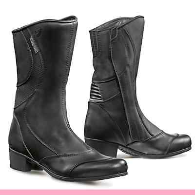 Forma Performing Womens Motorcycle Boots Diamond Black Leather Size 37 = 5 (USA)