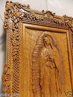 """Our Lady of Guadalupe Wood carving icon  Virgin Mary 10""""x15"""" FREE ENGRAVING"""