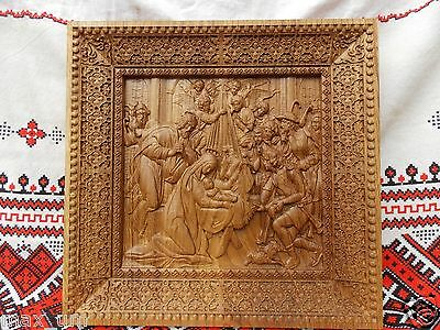 "Nativity UNIQUE christian gift Wood carving Icon 12"" x 12"" FREE ENGRAVING"