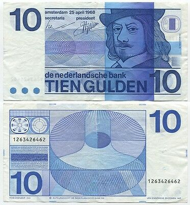 Netherlands 10 Gulden 1968 VF P-91b