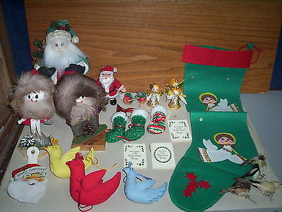 Vintage German Christmas Figure Bird Ornament Mini Books Japan Felt Stocking Lot