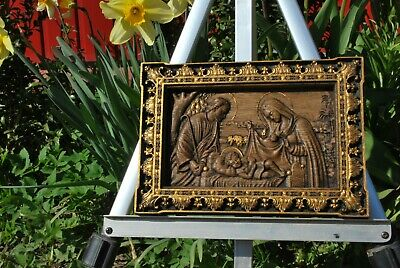 "Holy family icon Wood carved religious CHRISTIAN plaque 6"" x10"" FREE ENGRAVING"