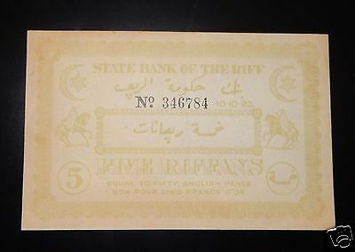 Morocco  State Bank Of The Riff 5 Riffans 10-10-1923 Rare
