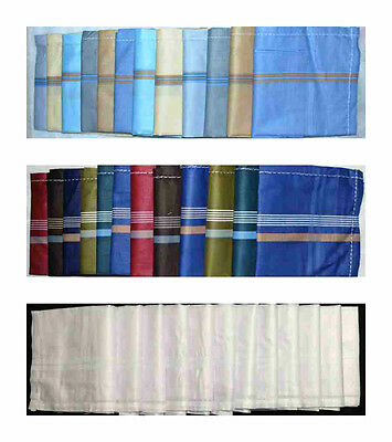 Mens Handkerchiefs 100 % Cotton 12 Pack 42 cm Square Soft Cotton Washable