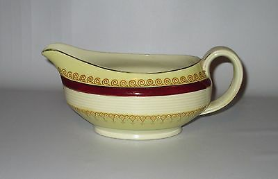 Woods Ivory Ware Gravy Boat Buckingham Burgundy Band Yellow Scroll 1950s England