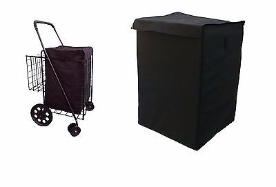 grocery folding shopping cart (LINER)  jumbo size  with cover color black