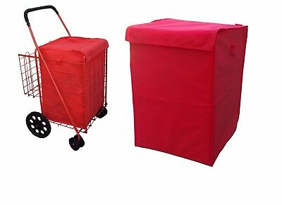 grocery folding shopping cart (LINER)  jumbo size  with cover color red