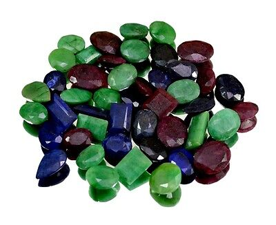 400ct / 47pc Natural Emerald Sapphire Ruby Ring UK Loose Gemstones Wholesale Lot