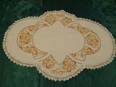 Vintage Hand Embroidered Deco Design Large  Doiley  White Hand Crocheted Edge