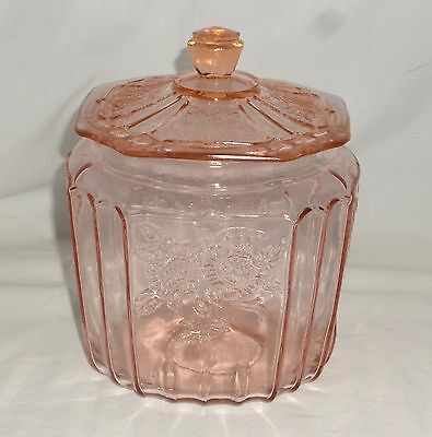 "Anchor Hocking MAYFAIR/OPEN ROSE PINK *7"" COOKIE JAR w/COVER*AS IS**"