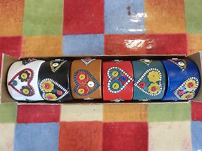 VINTAGE SET OF 6 LEATHER NAPKIN RINGS-CHEERY  , folksy & colourful-vgc