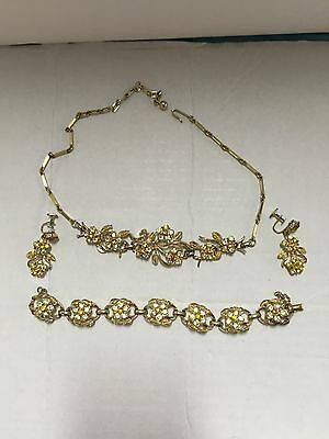Vintage Costume Jewelry by Coro Earrings Necklace And Bracelet VVGC