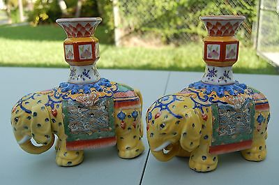 Beautiful CHINESE ANTIQUE PORCELAIN PAIR ELEPHANT CANDLE HOLDERS