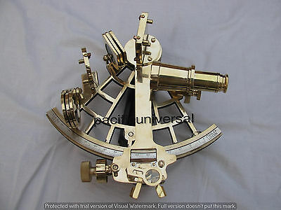 "Solid Brass Sextant 9"" Royal Navy Ship Working Instrument Astrolabe Gift Item"