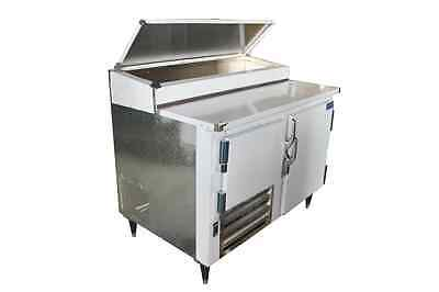 Commercial 1 1/2 Door Refrigerated Pizza Prep Table S.S TOP  48""