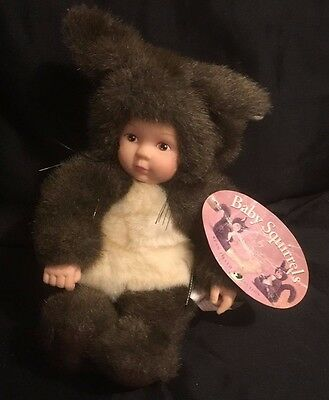 "Anne Geddes Squirrel Baby Doll Plush 9"" Stuffed Brown Outfit NEW"