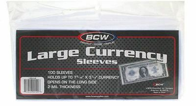 BCW Currency Sleeves - Large Bill, 100 pack