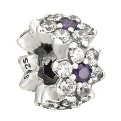 PURPLE FLOWER Charm 925 Solid Sterling Silver Forget Me Not Spacer Bead