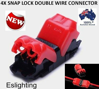 4X 12V Twin Wire Cable Easy Snap Connector Terminal Joiner Soldering Free Car