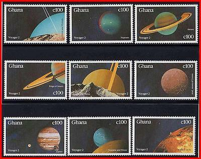 Ghana 1990 Solar System - Planets (9 Stamps Set)  Mnh Space Astronomy  (K-J18)