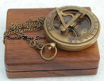 Brass Push Button Sundial Pocket Compass Personalized Vintage Engraved Gift Case