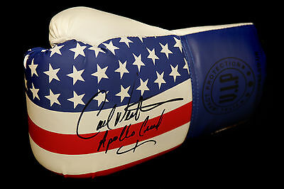 "* New* Carl Weathers ""Rocky"" Signed Stars and Stripes VIP Boxing Glove In Black"
