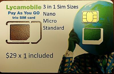 LYCAMOBILE PRELOADED 3 in 1 SIM W/ 1 MONTHS OF THE $29 PLAN INCLUDED