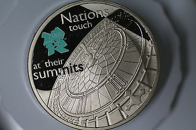 Uk Gb 5 Pounds 2009 Proof London Olympics Nations Touch A52 #k2647