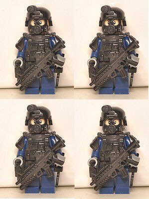 4 X SWAT soldier Blue minifigs/minifigures with weapon,helmet,armor