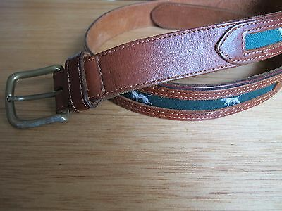 Genuine Brown Leather Hunting Dog Fabric Inserts Belt w/Heavy Solid Brass Buckle