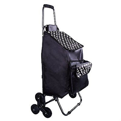 Grocery Cart With Wheels Front Cooler Bag, Rolling Push Shopping Stair Climbing