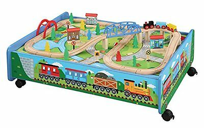 62 piece Wooden Train Set with Train Table /Trundle -Thomas & Friends Compatible