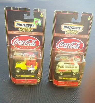 2 1999 Matchbox Collectibles Coca-Cola Cars 1967 VW Transporter & 1998 Jeep New!