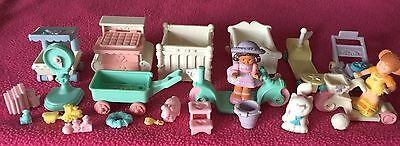 Lot Of Vintage Fisher Price Precious Places Baby Furniture Figures Toys Nursery