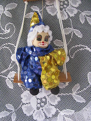 Clown on a Swing Ornament Blue and Gold Sequin Clown Ornament