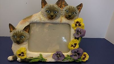 "Beautiful, Vintage Siamese Cats & Pansies Picture Frame for 3 1/2"" x 5"" Photo"