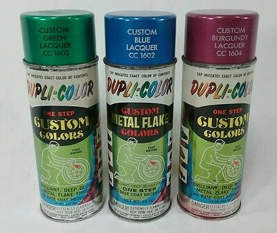 lot of 3 vintage duplicolor spray paint cans custom colors metal flake graffiti