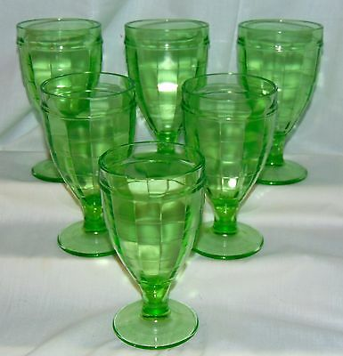 """6 Anchor Hocking BLOCK OPTIC GREEN *5 1/2"""" HEAVY WATER GOBLETS*"""