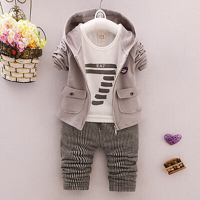Toddler Baby Clothing Boys Cotton Casual Kids Outftis Hooded Zipper Fashion Sets