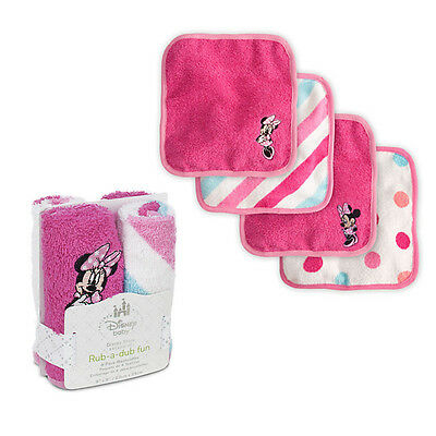 DIsney Minnie Mouse Baby Washcloths Set of 4. New with Tags!!