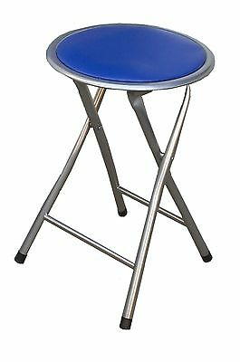 portable folding chair round soft padded  stool heavy duty frame metal ( blue )